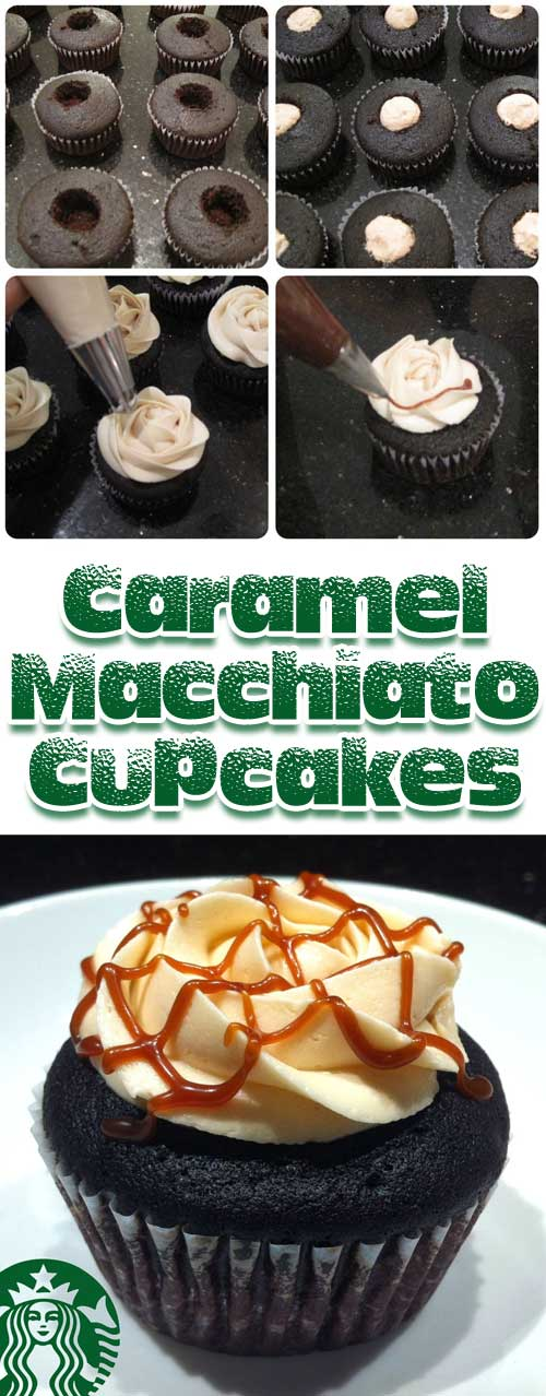 Recipe for Caramel Macchiato Cupcakes - My absolute favorite drink from Starbucks turned into a cupcake!