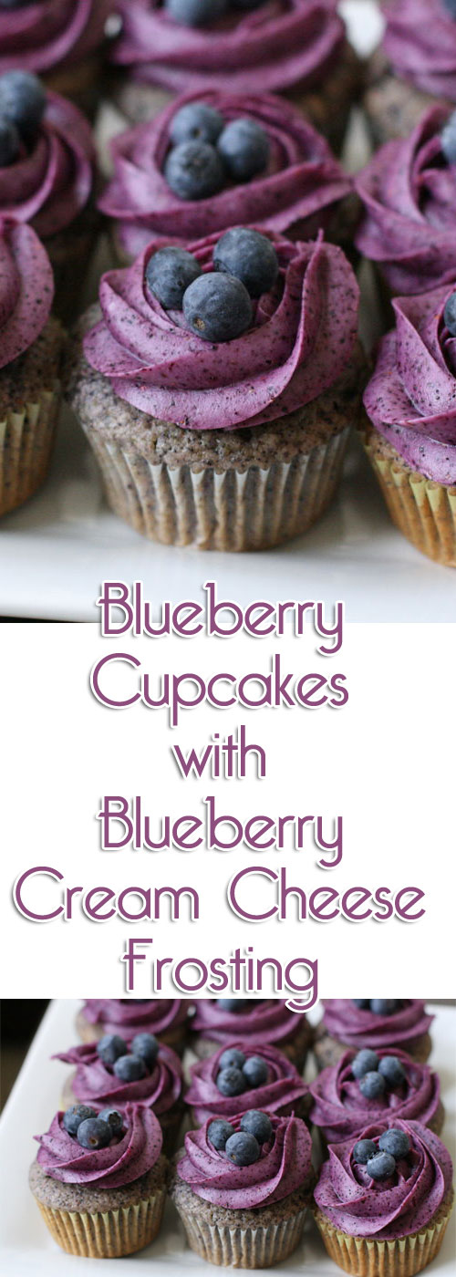 Recipe for Blueberry Cupcakes with Blueberry Cream Cheese Frosting
