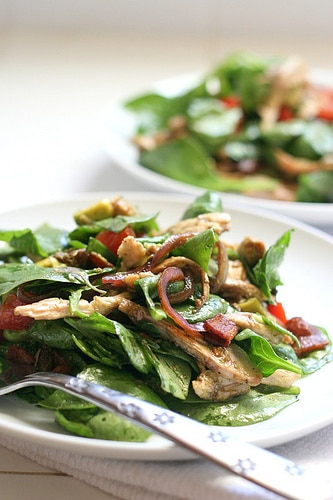BLT_Chicken_Salad_with_Warm_Bacon_Dressing