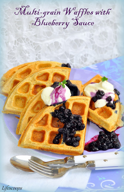 Healthy Whole Grain Waffles with Homemade Blueberry Sauce