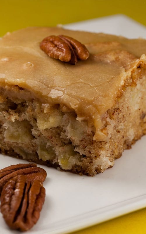 This apple cake is my favorite cake. I have tried many apple cakes over the years and this is a winner!! So moist and dense, with a caramel taste.