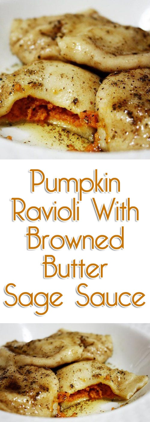 Boy, oh boy...thisPumpkin Ravioli With Browned Butter Sage Sauce turned out so delicious, the sage worked so well with the pumpkin filling and the filling mixture was a great consistency.