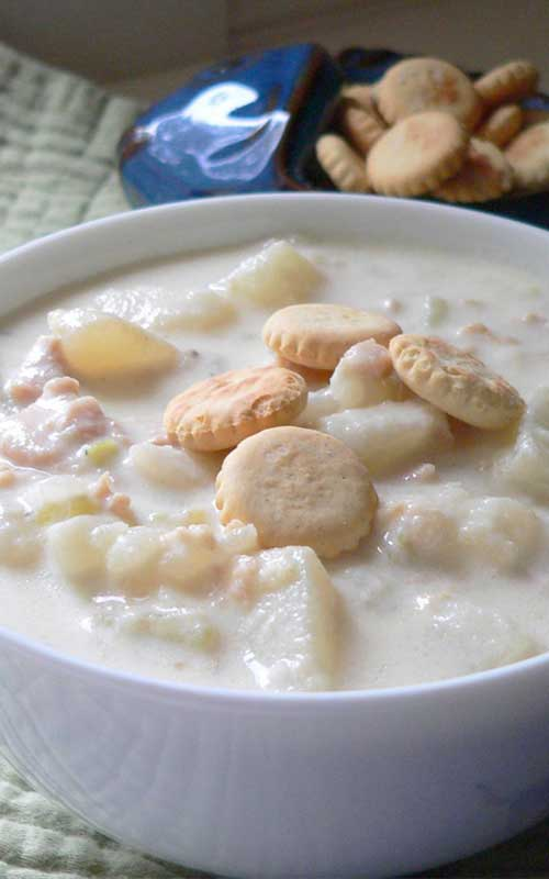 This classic New England clam chowder, made with potatoes, onion, and canned clams, turns out creamy and hearty with a wonderful flavor thanks to the fresh thyme.