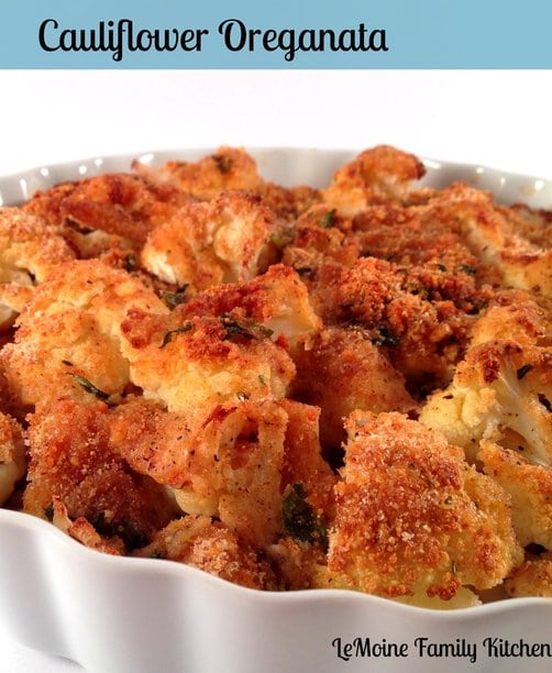 Recipe for Baked Crunchy Cauliflower - This Cauliflower Oreganata is so incredibly easy to make but is most definitely tasty and beautiful enough to serve to friends and family for the holidays!