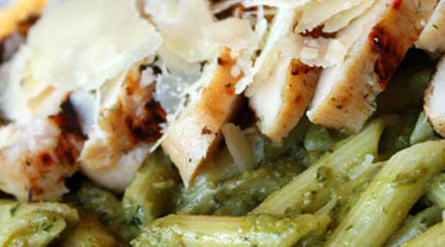 The avocado in this Avocado Penne Pesto with Grilled Chicken brings a creaminess and delicious flavor to the sauce. It may almost be better than traditional pesto!