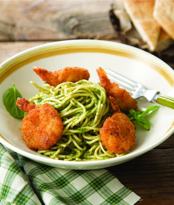 Recipe for Parmesan Shrimp and Pesto Noodles