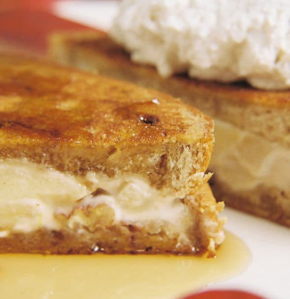 Recipe for Caramel Apple Cream And White Chocolate Stuffed French Toast