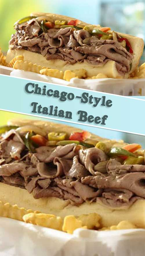 Recipe for Slow Cooker Chicago-Style Italian Beef - What is it about a savory, juicy sandwich that hits all the notes for us? This would make a perfect weeknight dinner