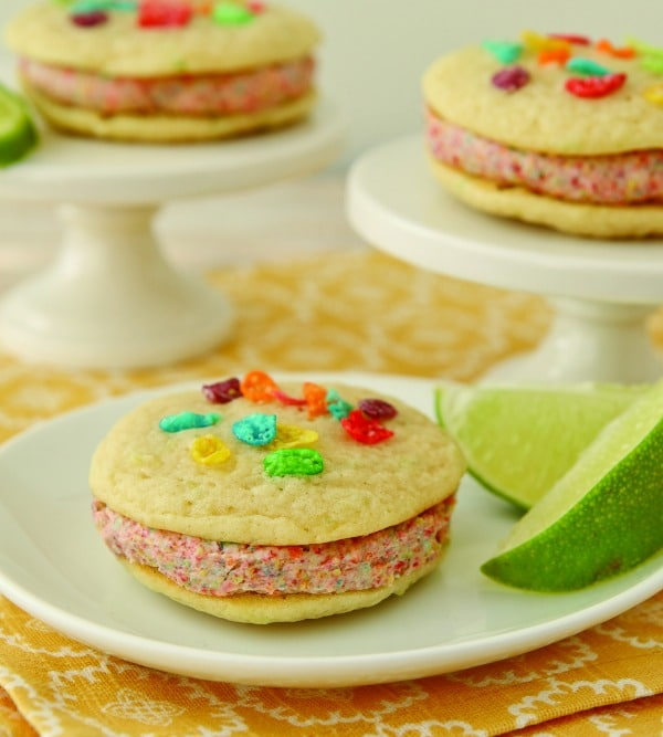 """Coconut Lime Rainbow Whoopie Pies Recipe - You will love the fun tropical flavors in these """"Coconut Lime Rainbow Whoopie Pies!"""""""