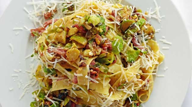 Brussel Sprout Carbonara with Fettuccini is the classic Italian comfort dish made even better with the addition of my favorite veggie!