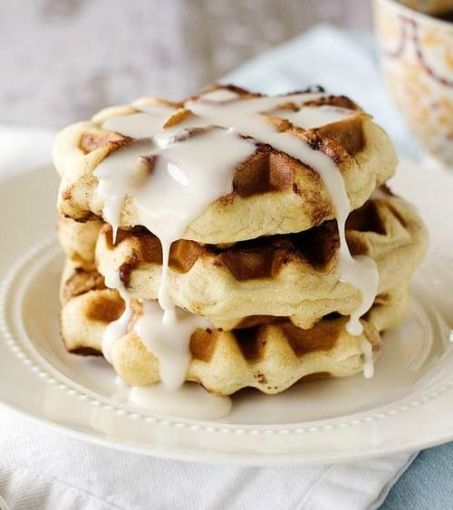Recipe for Cinnamon Roll Waffles with Cream Cheese Icing