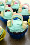 """These """"somewhere over the rainbow"""" cupcakes are the perfect dessert to serve at a Wizard of Oz themed party.  All you need are a couple of ingredients and some creative intuition to bake these colorful cupcakes at home."""
