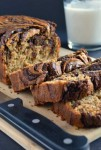Recipe for Banana Bread with Chocolate Swirl – Moist, fluffy banana bread topped with a luscious chocolate swirl. You won't believe that this delicious treat is gluten-free!