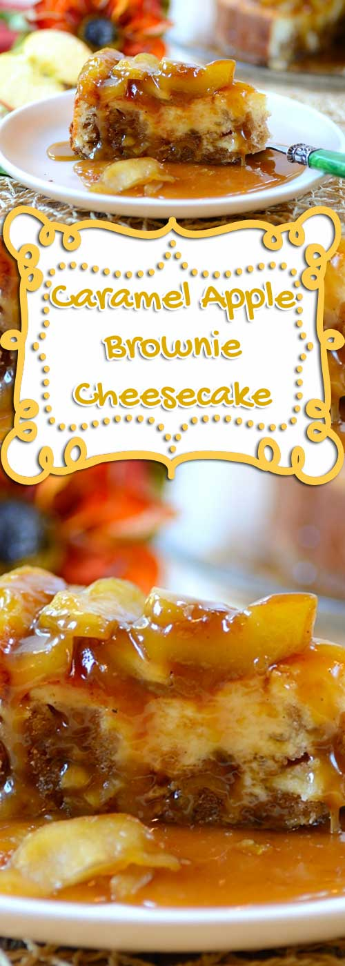 """Recipe for Caramel Apple-Brownie Cheesecake - This is a dessert that just screams """"It's fall, this is what you are wanting!""""."""