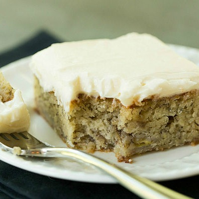 This is an easy to make banana snack cake that is tasty, yummy and (almost) healthy, because bananas are actually in the cake.