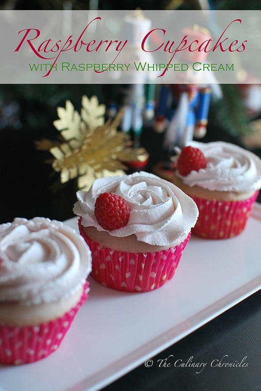 Recipe for Raspberry Cupcakes with Raspberry Whipped Cream