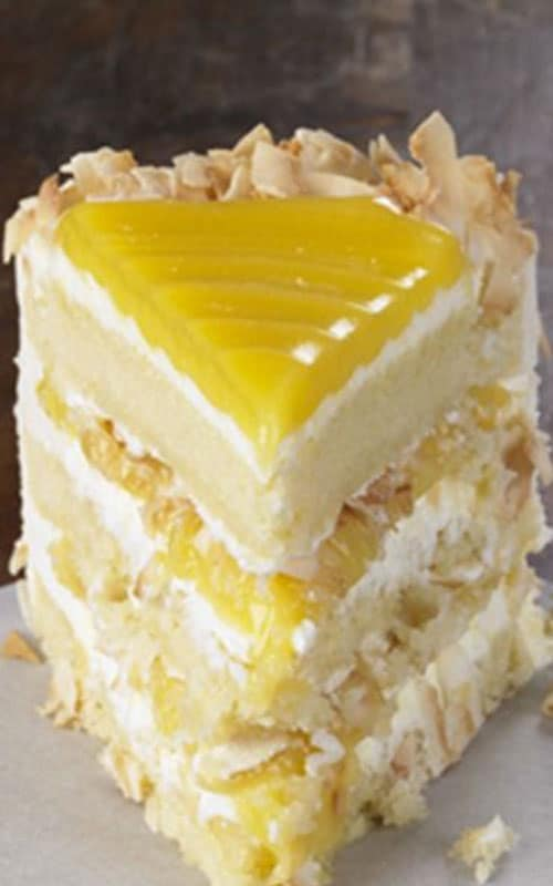 Tangy lemon filling between layers of tender white cake. Top it all off with a rich coconut-cream cheese frosting. Some people think that it is the best cake they've ever eaten.