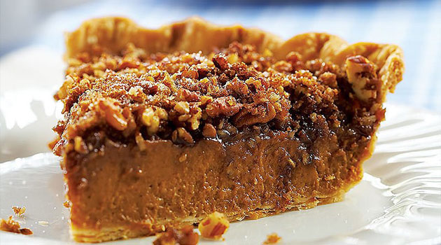 A great choice when you can't decide whether to make pumpkin or pecan pie! I adore this pie. I think the praline layer adds a lovely new dimension to a plain ole pumpkin pie.